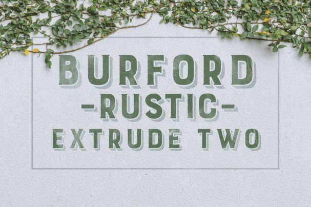 Download Burford Rustic Extrude Two font (typeface)