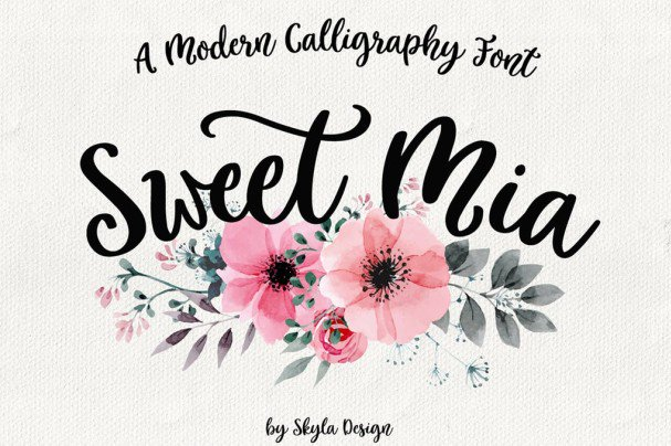 Download Modern calligraphy, Sweet Mia font (typeface)