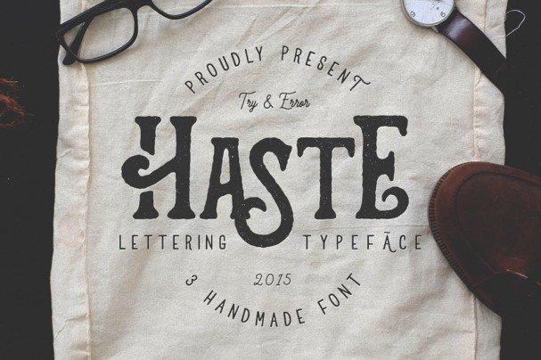 Download Haste - 3 Handmade font (typeface)