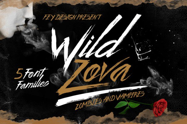 Download Wild Zova - Brush font (typeface)