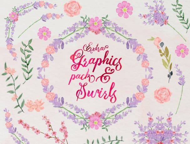 Download Mira & graphic watercolor & swirls font (typeface)