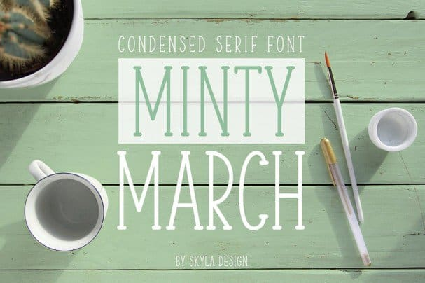 Download Condensed serif, Minty March font (typeface)