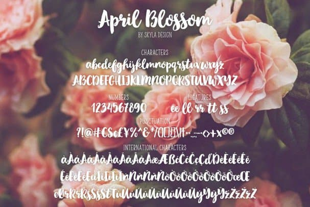 Download Script brush, April blossom font (typeface)