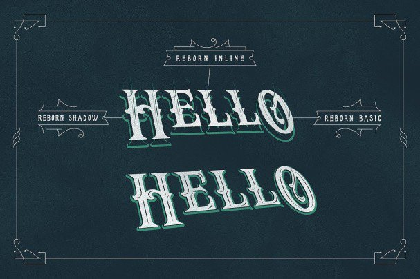 Download Reborn Typeface + layered with extras font (typeface)