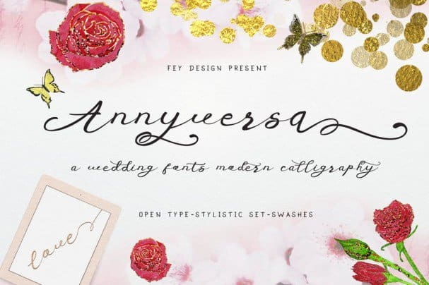 Download Anniversa Wedding Font font (typeface)