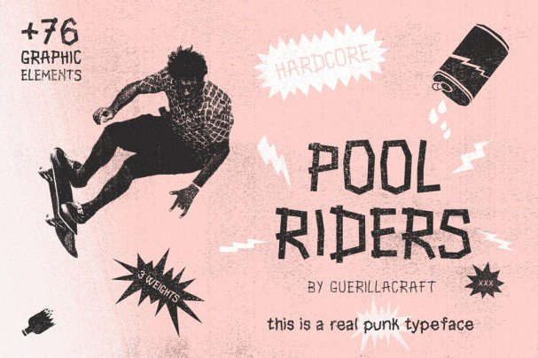 Download Pool Riders Typeface + Graphic Elements font (typeface)