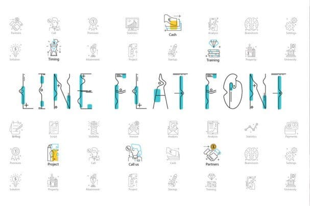 Download Line Flat + line flat icon font (typeface)