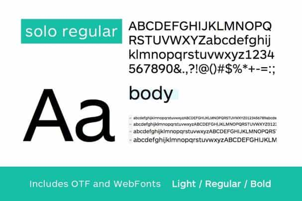 Download SOLO - Authentic Sans-Serif Typeface + WebFonts font (typeface)
