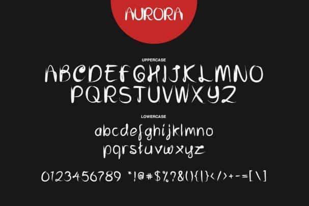 Download Aurora - Brush font (typeface)