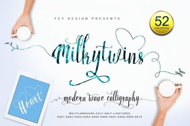 Download Milkytwins - Script font (typeface)