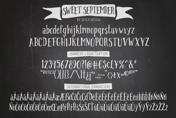 Download Condensed serif, Sweet September script font (typeface)