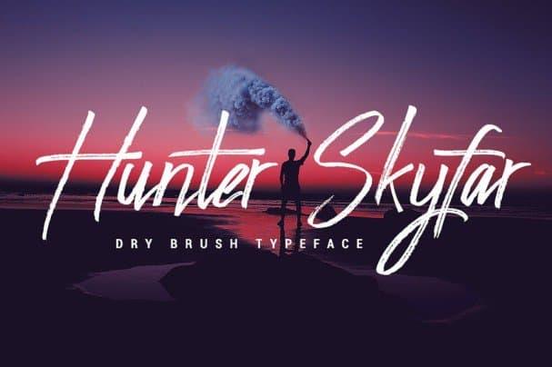 Download Hunter Skyfar - Dry Brush Script font (typeface)