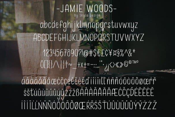 Download Skinny, condensed - Jamie Woods font (typeface)