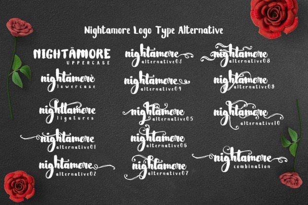 Download Nightamore - Brush Font font (typeface)