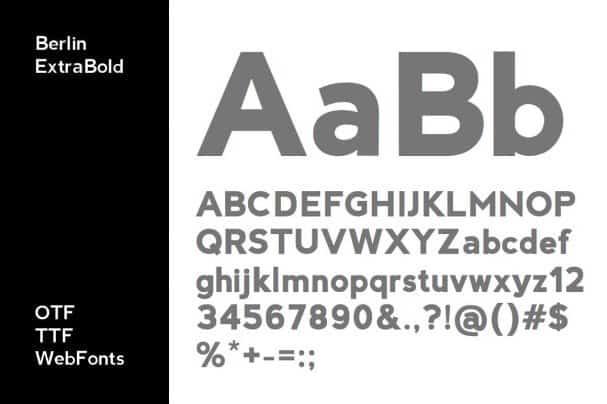 BERLIN - Minimal Sans-Serif Typeface + Web Font font free download
