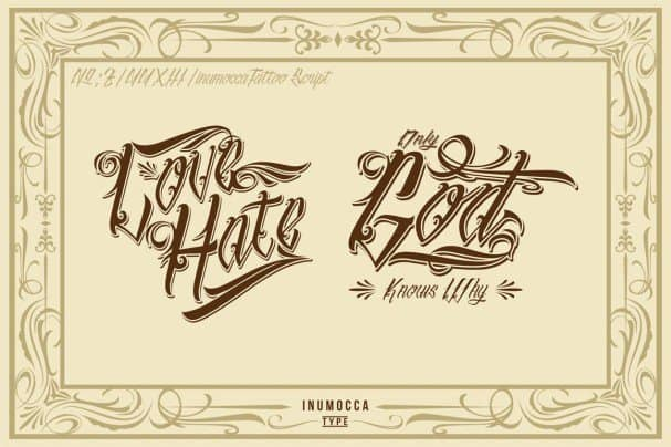 Download InuMOCCA Tattoo Script font (typeface)