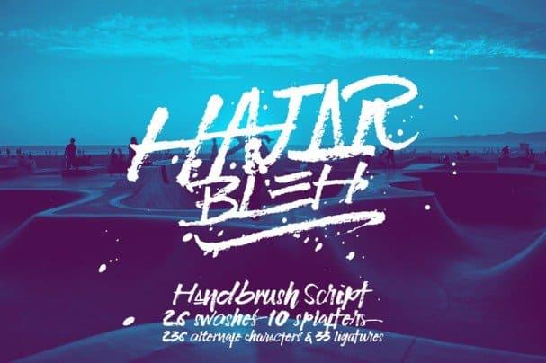 Download HajarBleh Brush Font font (typeface)