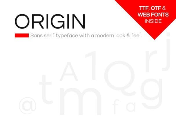Download ORIGIN - Modern Sans-Serif Typeface + Web Fonts font (typeface)