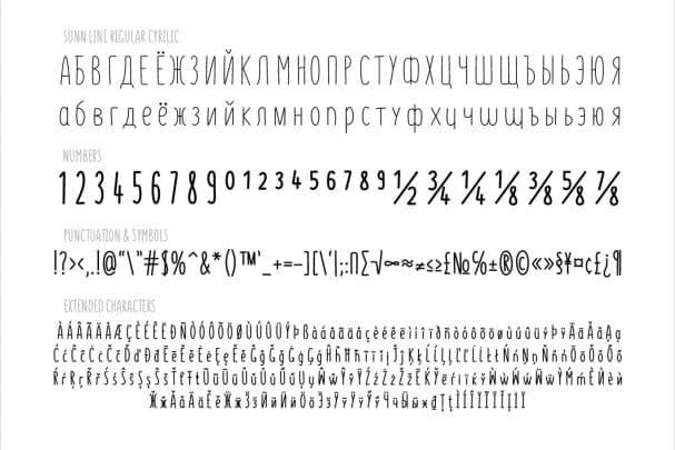 Download SUNN Line Extended Font font (typeface)