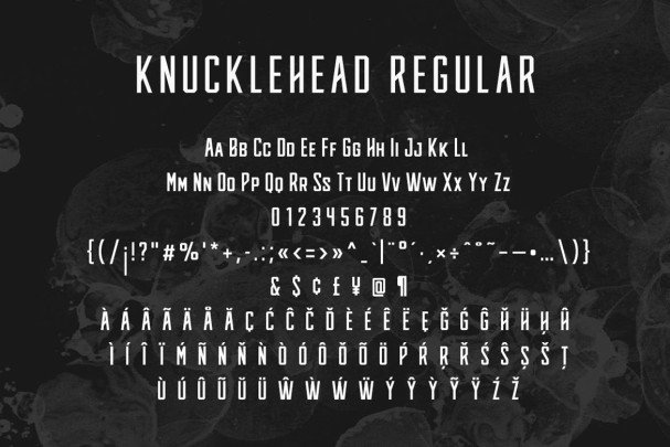 Download Knucklehead Typeface font (typeface)