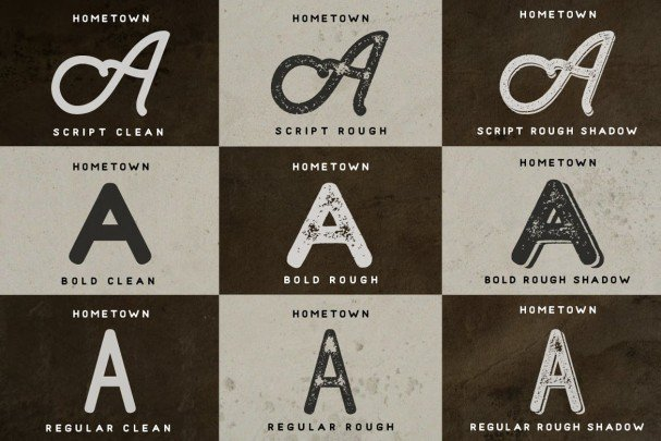 Download Hometown - Clean And Rough font (typeface)