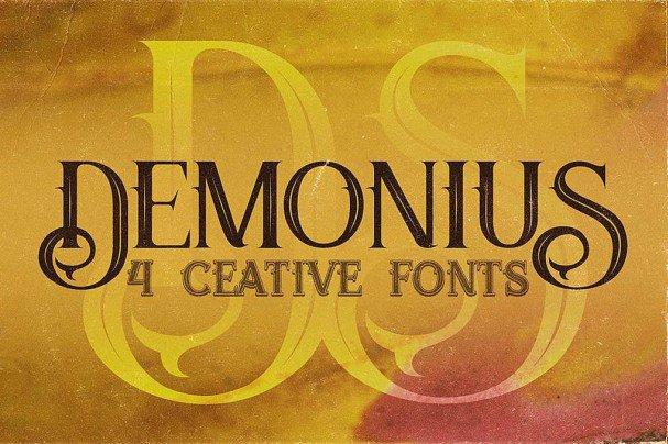 Download Demonius - 4 Vintage Fonts font (typeface)