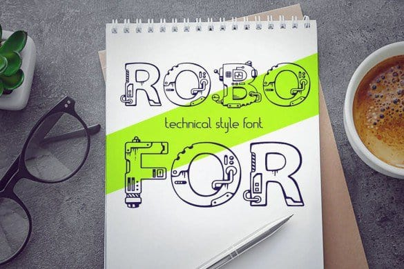 Download Robo for mechanical engineering font (typeface)