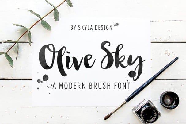 Download Bold modern brush font - Olive Sky font (typeface)