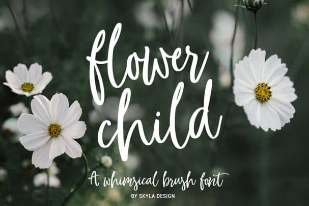 Download Whimsical brush, Flower Child font (typeface)