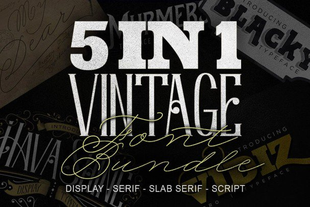Download 5 in 1 Vintage Bundle font (typeface)