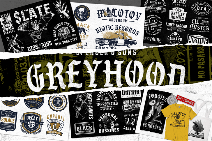 Download S&S GreyHood Seven font (typeface)