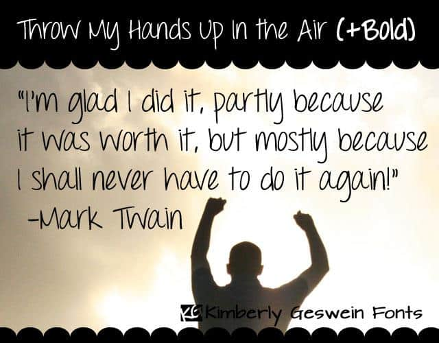 Download Throw My Hands Up in the Air font (typeface)