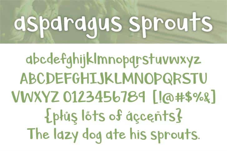 Download Asparagus Sprouts font (typeface)
