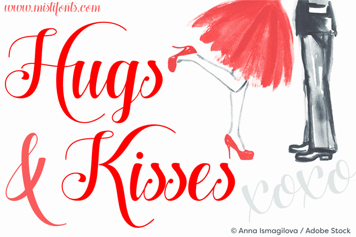 Download Hugs and Kisses xoxo Demo font (typeface)